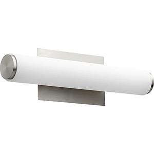 Avante Satin Nickel and Matte White Acrylic LED Bath Bar