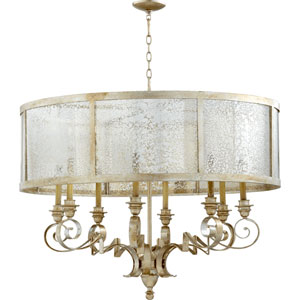 Bloomfield Aged Silver Leaf 38-Inch Eight-Light Pendant