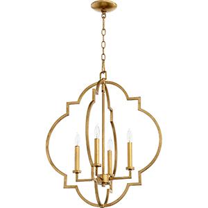 Carnegie Gold Leaf 22-Inch Four-Light Pendant