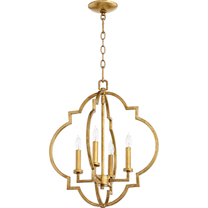 Carnegie Gold Leaf 18-Inch Four-Light Pendant
