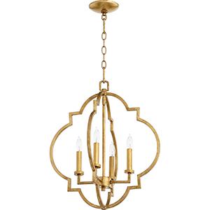 Carnegie Gold Leaf 18-Inch Four-Light Pendant