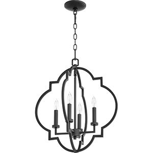 Carnegie Black 18-Inch Four-Light Pendant