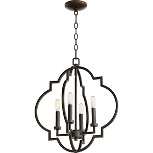 Carnegie Oiled Bronze 18-Inch Four-Light Pendant