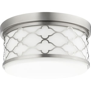 Gardens Satin Nickel Three-Light Flush Mount