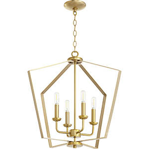 Greenfield Aged Brass Four-Light Pendant