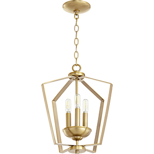 Greenfield Aged Brass Three-Light Pendant