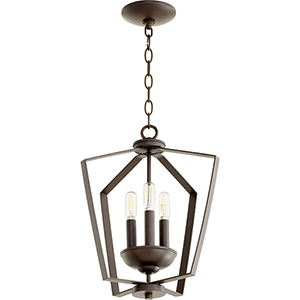 Greenfield Oiled Bronze Three-Light Pendant