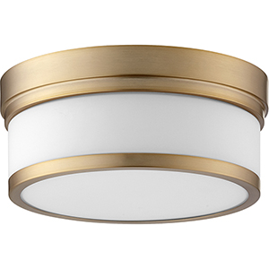 Kingsbury Aged Brass Two-Light Flush Mount