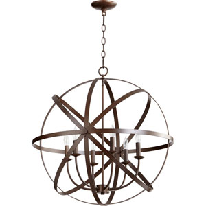 Kingsbury Oiled Bronze Six-Light Pendant