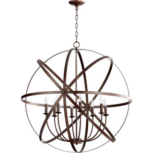 Kingsbury Oiled Bronze Eight-Light Pendant