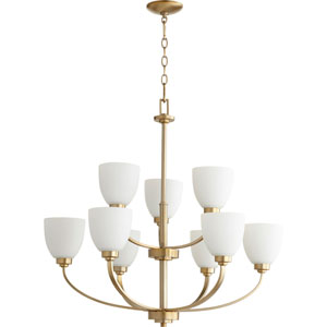 Mansfield Aged Brass Nine-Light Chandelier