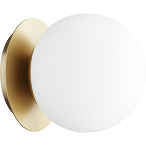 Trio Aged Brass Six-Inch One-Light Flush Mount