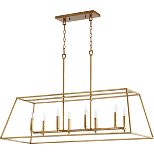 Windsor Gold Leaf 17-Inch Eight-Light Pendant