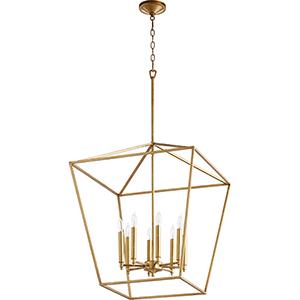 Windsor Gold Leaf 22-Inch Eight-Light Pendant