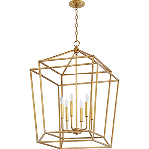 Woodrow Gold Leaf 21-Inch Six-Light Pendant