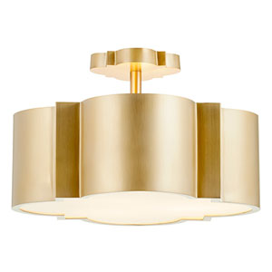 Merton Aged Brass Three-Light Semi Flush