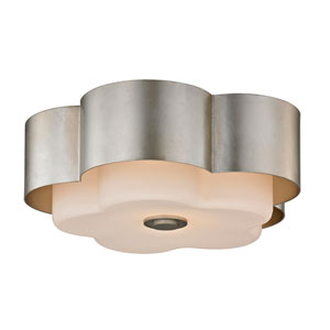 Nina Silver Leaf Two-Light 14-Inch Flush Mount
