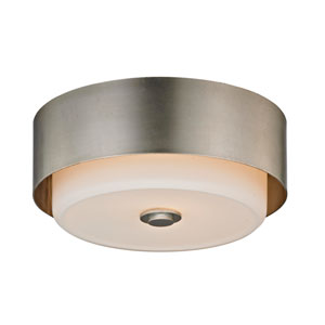 Nina Silver Leaf Two-Light 13-Inch Round Flush Mount
