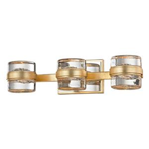 Colette Gold Leaf and Polished Chrome Three-Light LED Bath Vanity