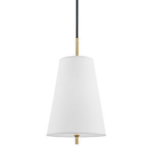 Blake Aged Old Bronze One-Light Pendant with White Belgian Linen Shade