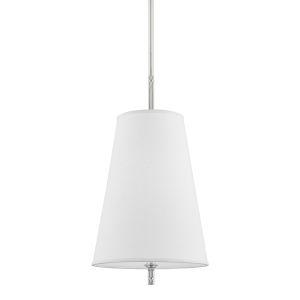 Blake Polished Nickel One-Light Pendant with White Belgian Linen Shade