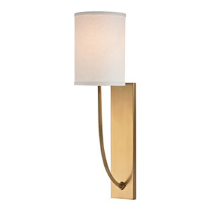 Myles Aged Brass One-Light Wall Sconce with Linen Shade