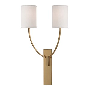 Myles Aged Brass Two-Light Wall Sconce with Linen Shade