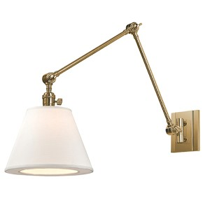 Rae Aged Brass One-Light Swing Arm Wall Sconce with White Shade