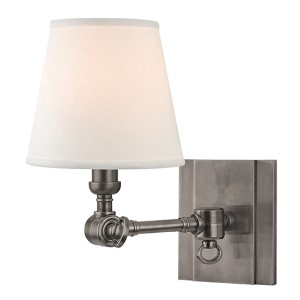 Rae Historic Nickel One-Light 10-Inch High Swivel Wall Sconce with White Shade