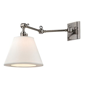 Rae Historic Nickel One-Light 13-Inch High Swivel Wall Sconce with White Shade
