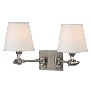 Rae Historic Nickel Two-Light Swivel Wall Sconce with White Shade