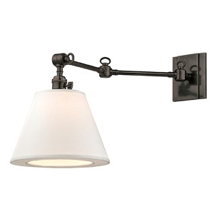 Rae Old Bronze One-Light 13-Inch High Swivel Wall Sconce with White Shade