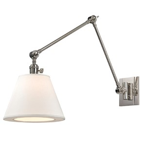 Rae Polished Nickel One-Light Swing Arm Wall Sconce with White Shade