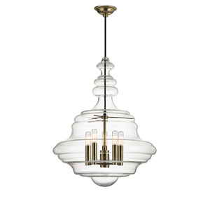 Zoe Aged Brass Five-Light Pendant with Clear Glass