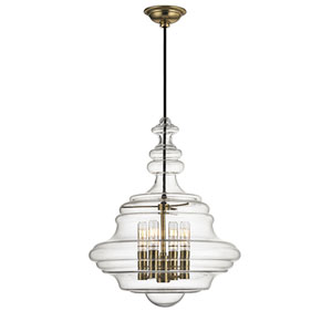 Zoe Aged Brass Four-Light Pendant with Clear Glass