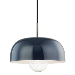 Eva Polished Nickel One-Light 14-Inch Pendant
