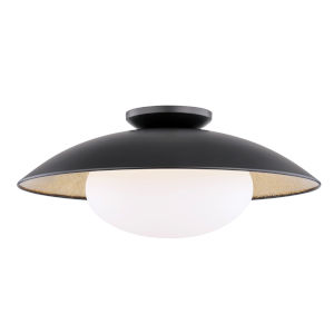 Vince Black and Gold 21-Inch One-Light Semi-Flush Mount