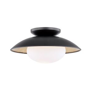 Vince Black and Gold One-Light Semi-Flush Mount