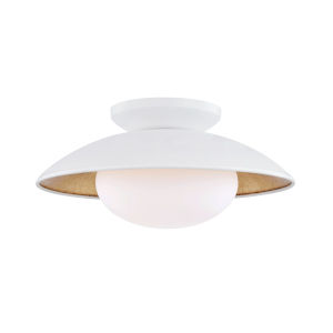 Vince White and Gold 14-Inch One-Light Semi-Flush Mount