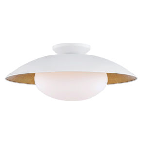Vince White and Gold One-Light Semi-Flush Mount