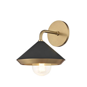 Lauren Aged Brass One-Light 8-Inch Wall Sconce with Black Shade
