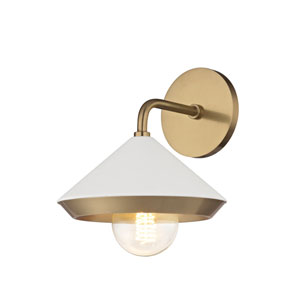 Lauren Aged Brass One-Light 8-Inch Wall Sconce with White Shade