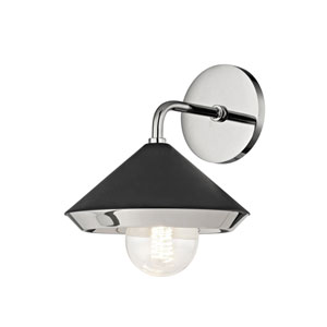 Lauren Polished Nickel One-Light 8-Inch Wall Sconce with Black Shade