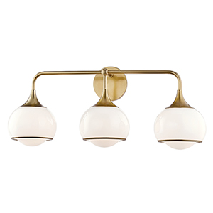 Jordan Aged Brass Three-Light Wall Sconce