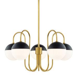 Mckenna Aged Brass and Black Five-Light Chandelier