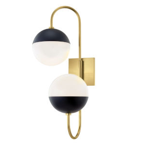 Mckenna Aged Brass and Black Two-Light Wall Sconce