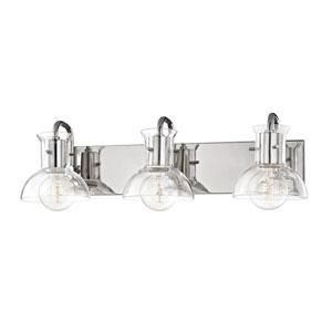 Sloane Polished Nickel 24-Inch Three-Light Bath Vanity