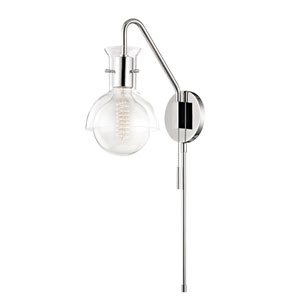 Sloane Polished Nickel One-Light 6-Inch Wall Sconce with Clear Glass