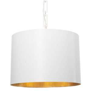 Elinor Matte White and Antique Gold Six-Light Drum Pendant