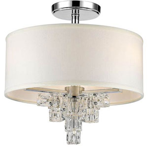 Blaire Polished Chrome Three-Light Pendant with Glass Ice Cube Crystal